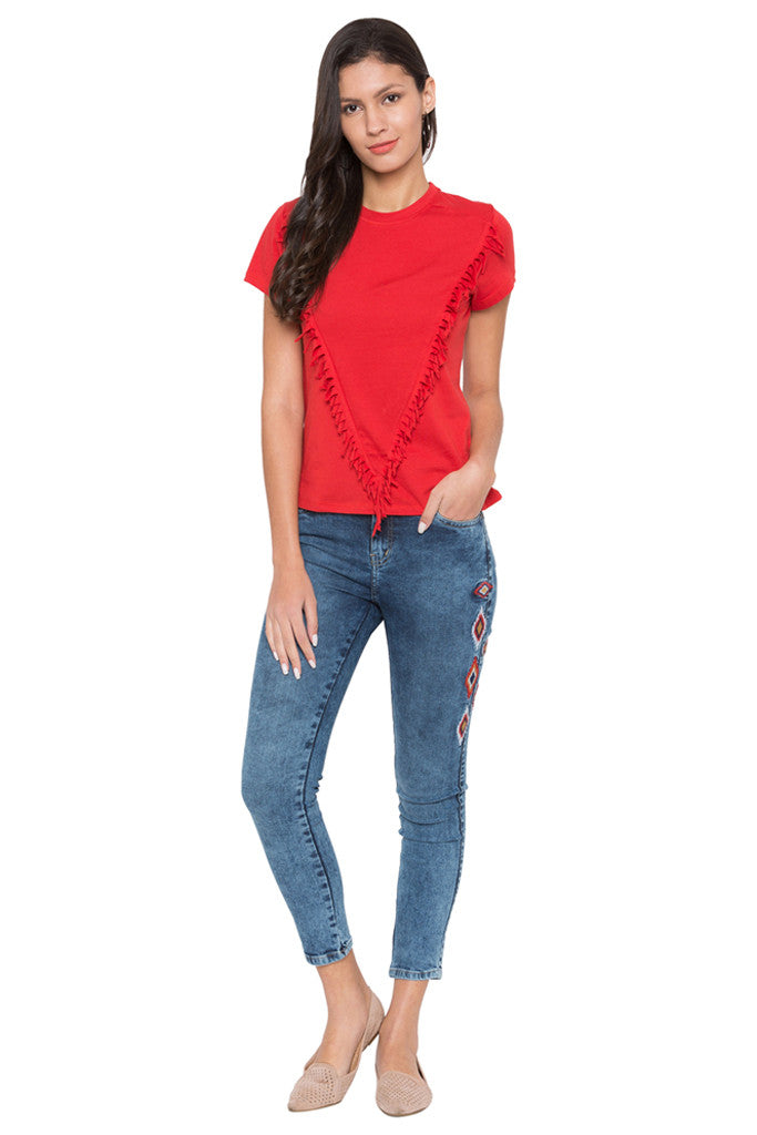 Skinny Fit Embroidered Denims-2