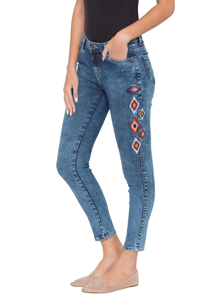 Skinny Fit Embroidered Denims-4