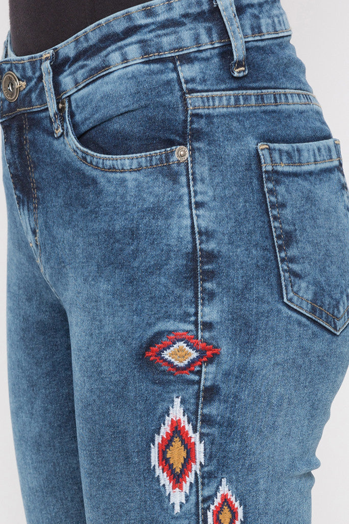 Skinny Fit Embroidered Denims-5