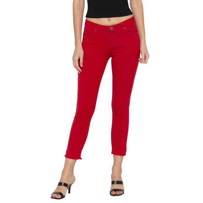 Casual Red Color Skinny Fit Mid-Rise Cropped Jeans-1