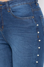 Load image into Gallery viewer, Dark Indigo Pearl Embellished Denims-5