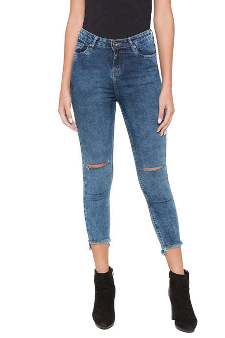High-low Hemline Cropped Denims-1