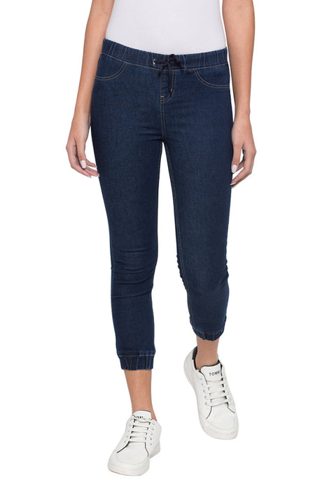 Indigo Mid-Rise cropped length Denim Jeans-1