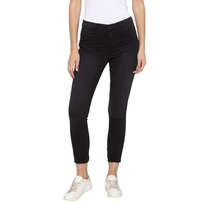 Casual Black Color Slim Fit Mid-Rise Cropped Jeans-1