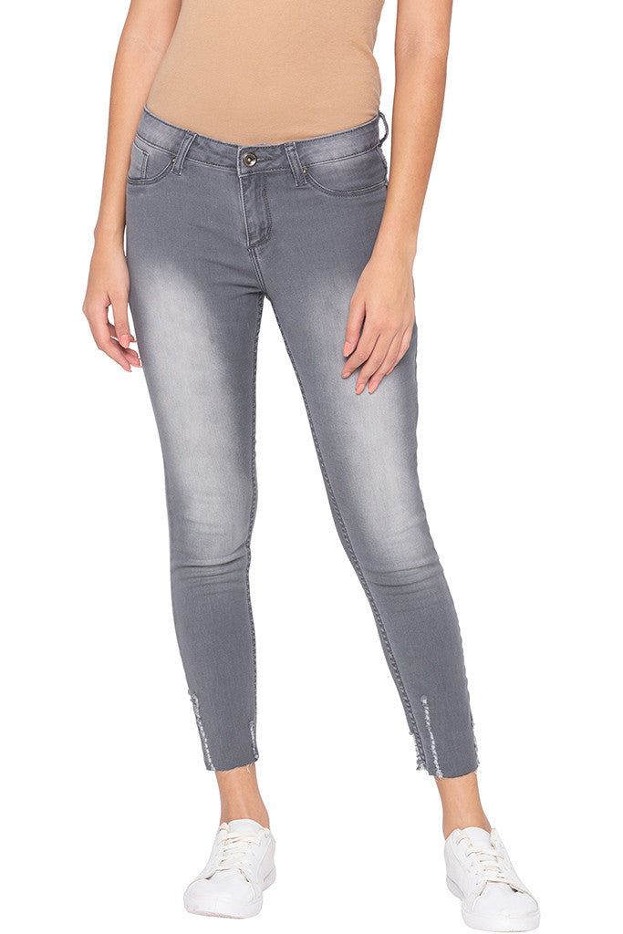 Faded Cropped Grey Denims-1