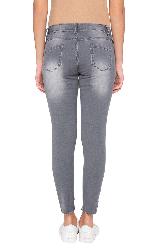 Faded Cropped Grey Denims-3