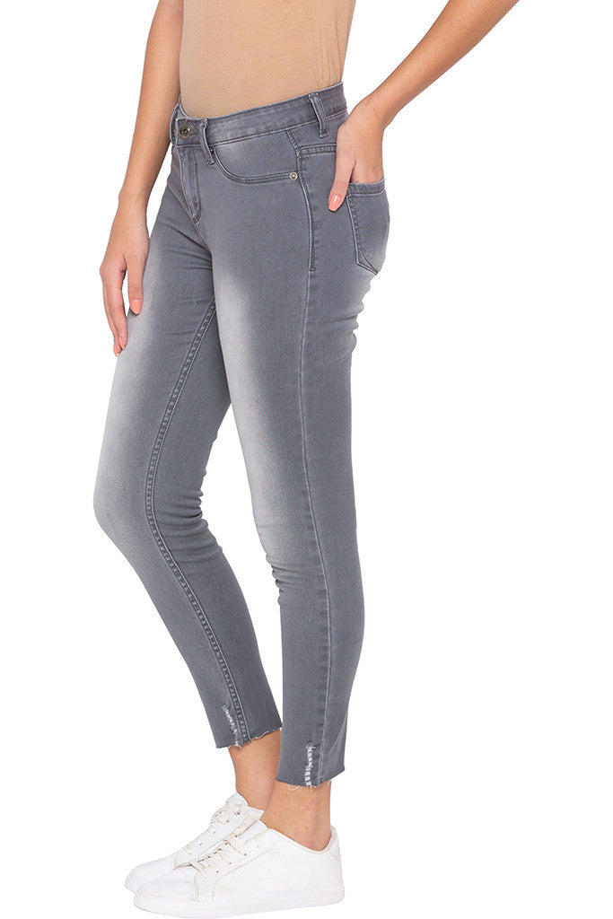 Faded Cropped Grey Denims-4