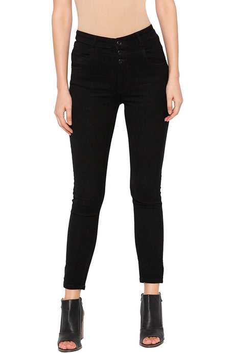Black 3-button Closure Skinny Denims-1