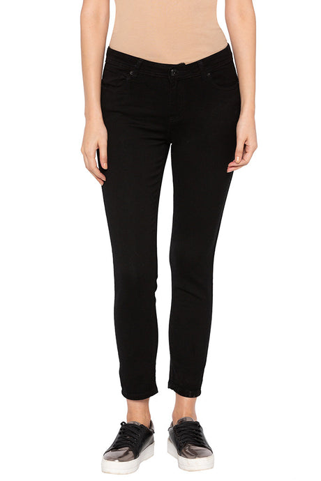Black Slim Fit High-rise Denims-1