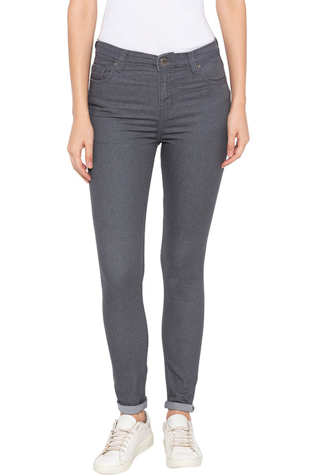 Grey Skinny Fit High-rise Denims-1
