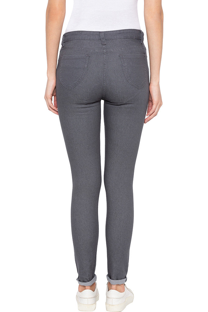 Grey Skinny Fit High-rise Denims-3