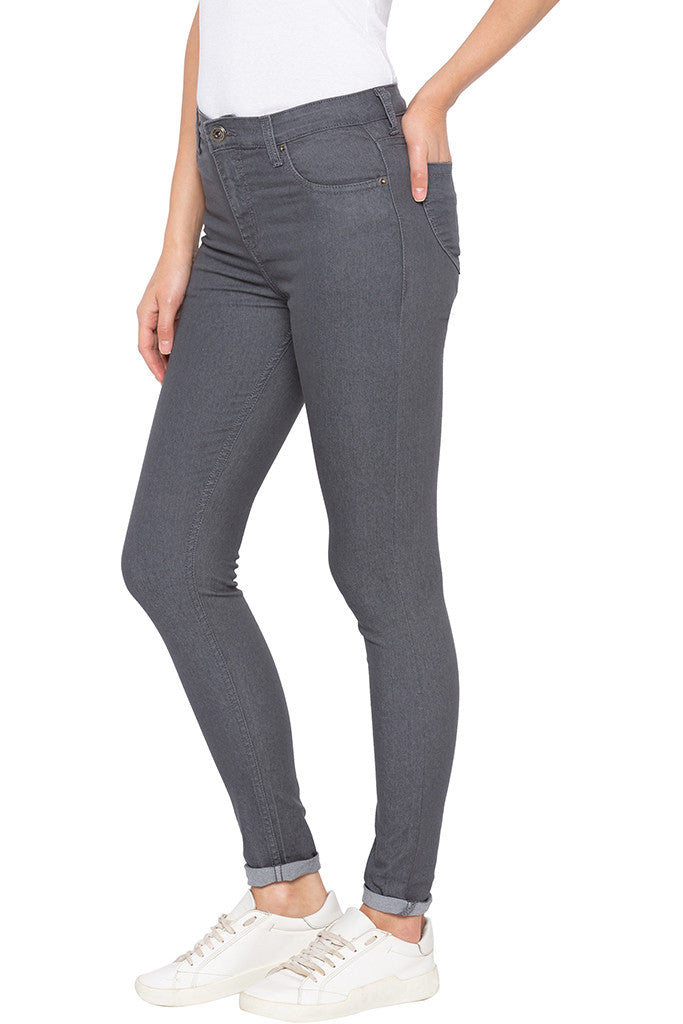 Grey Skinny Fit High-rise Denims-4