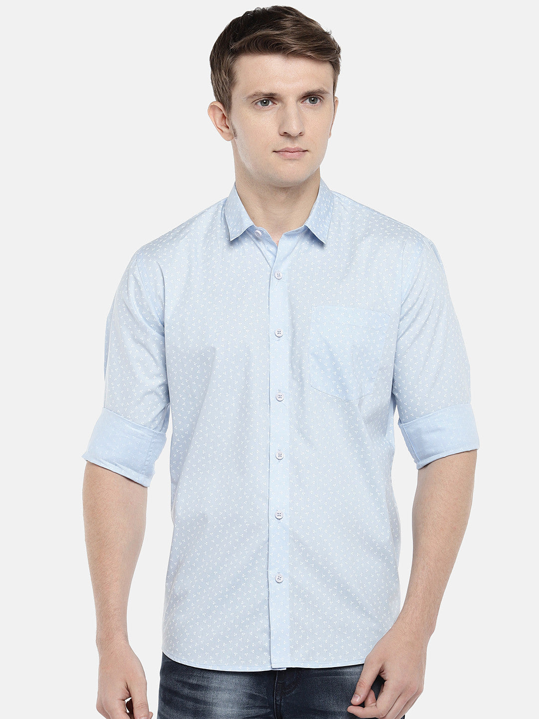 Blue Regular Fit Printed Casual Shirt-1