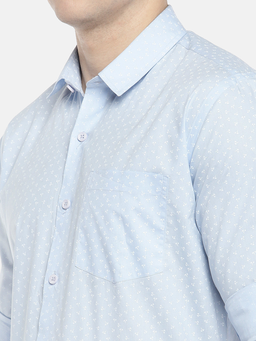 Blue Regular Fit Printed Casual Shirt-5