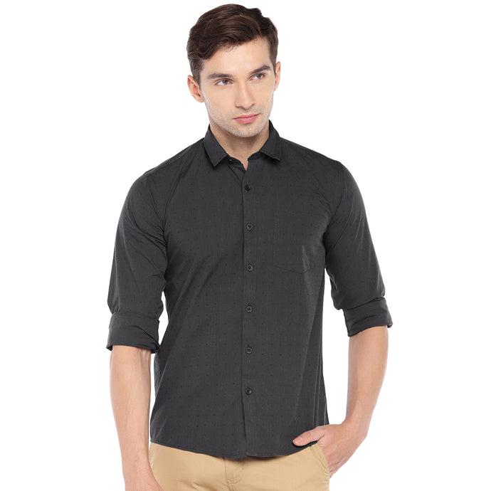 Black Regular Fit Self Design Casual Shirt-1