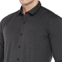 Load image into Gallery viewer, Black Regular Fit Self Design Casual Shirt-5