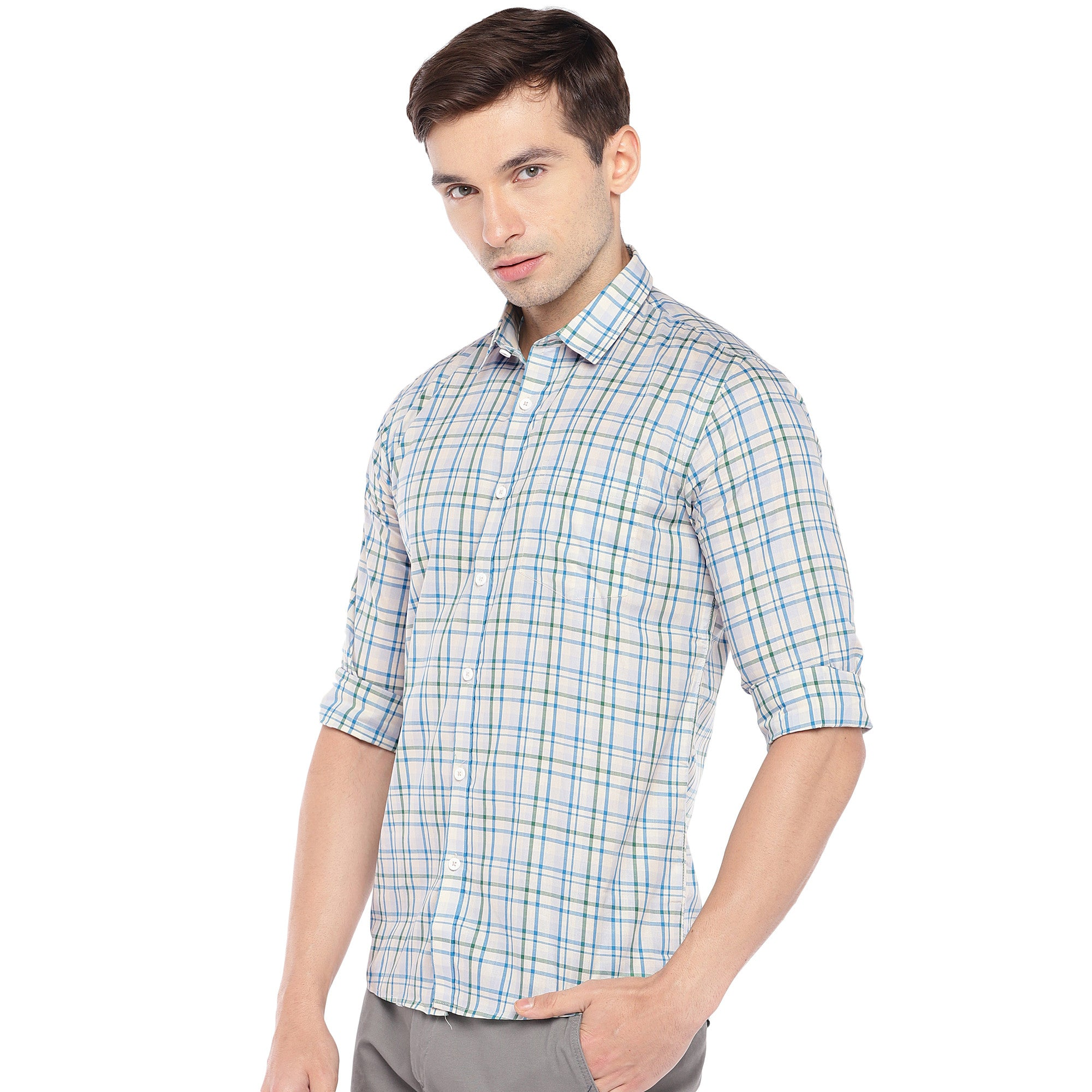Off-White Regular Fit Checked Casual Shirt-2