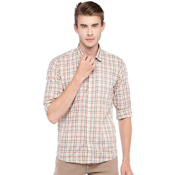 Beige Regular Fit Checked Casual Shirt-1