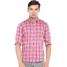 Load image into Gallery viewer, Pink Regular Fit Checked Casual Shirt-1
