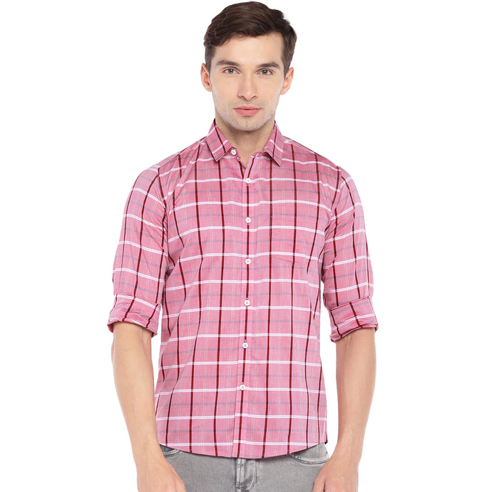 Pink Regular Fit Checked Casual Shirt-1