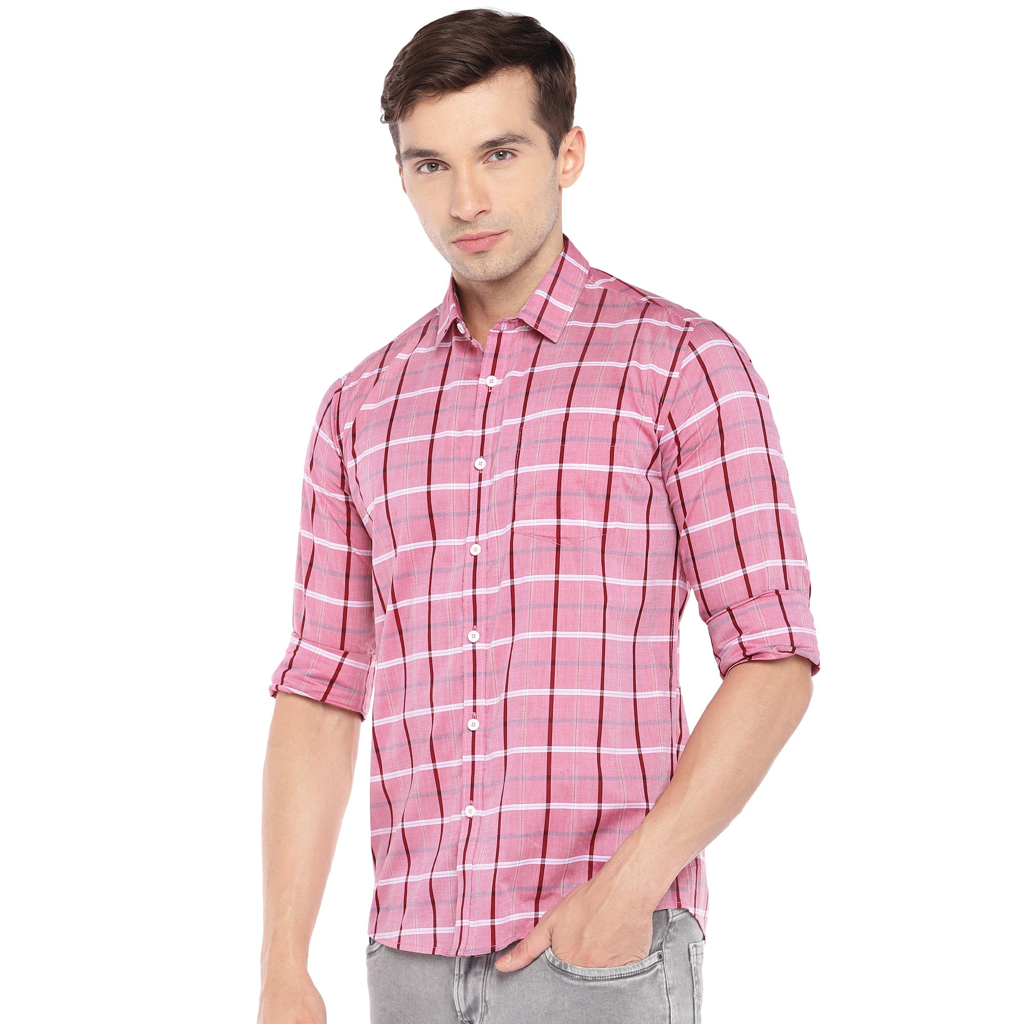 Pink Regular Fit Checked Casual Shirt-2