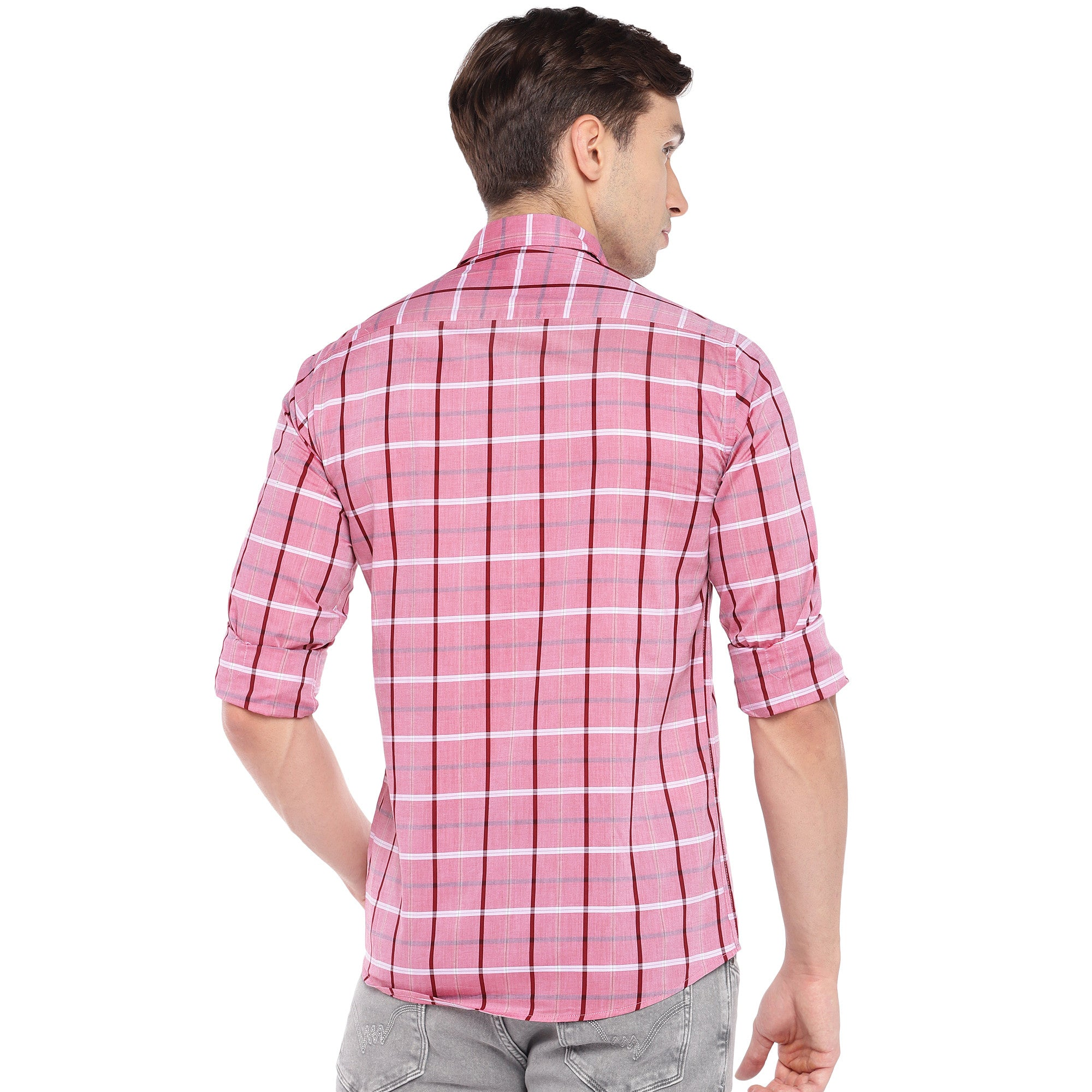 Pink Regular Fit Checked Casual Shirt-3