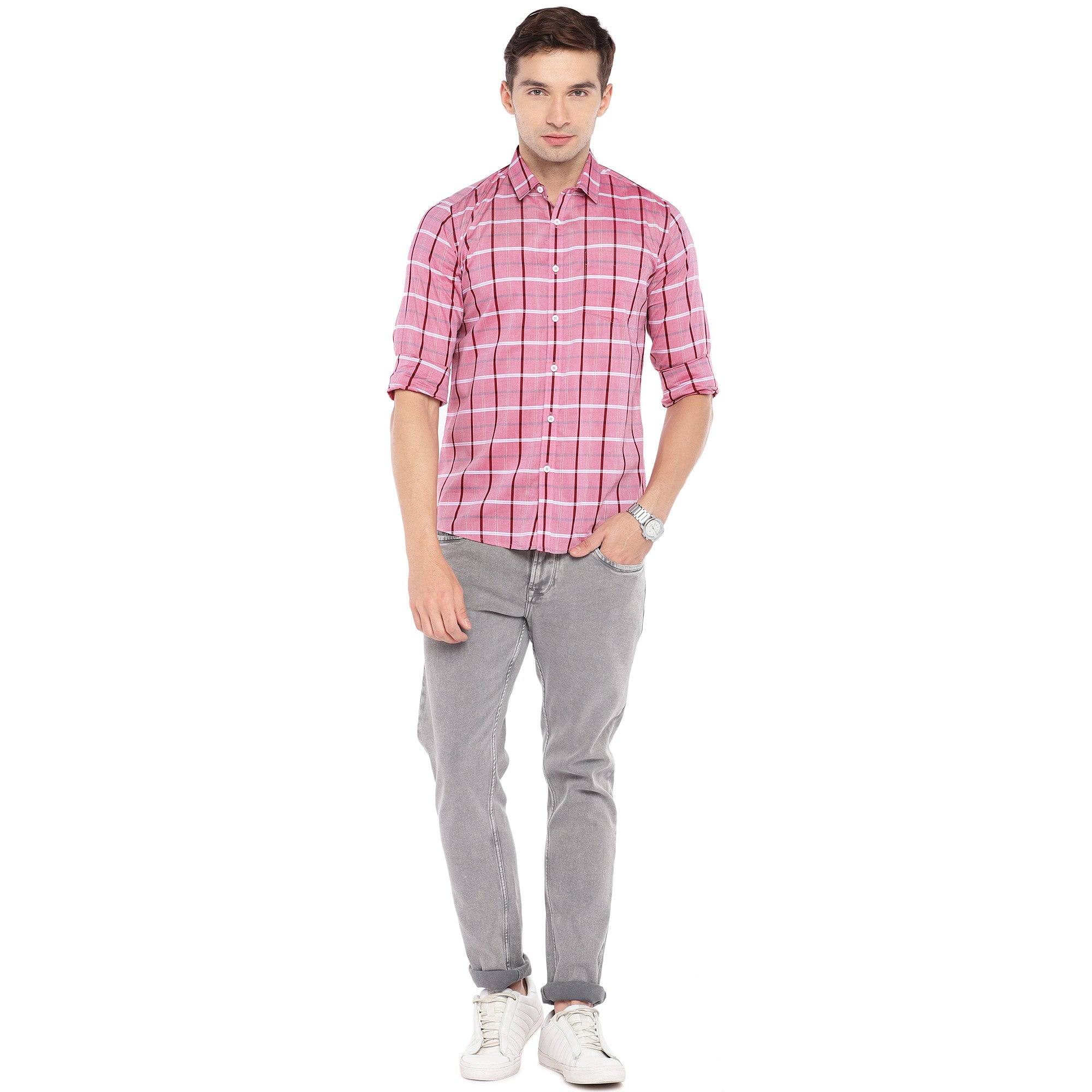 Pink Regular Fit Checked Casual Shirt-4