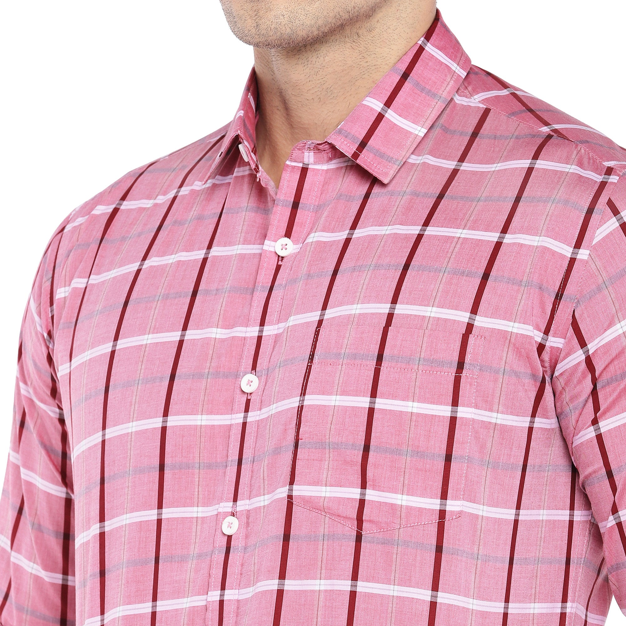 Pink Regular Fit Checked Casual Shirt-5