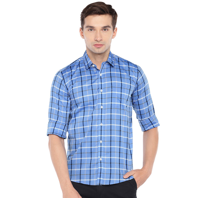 Blue Regular Fit Checked Casual Shirt-1