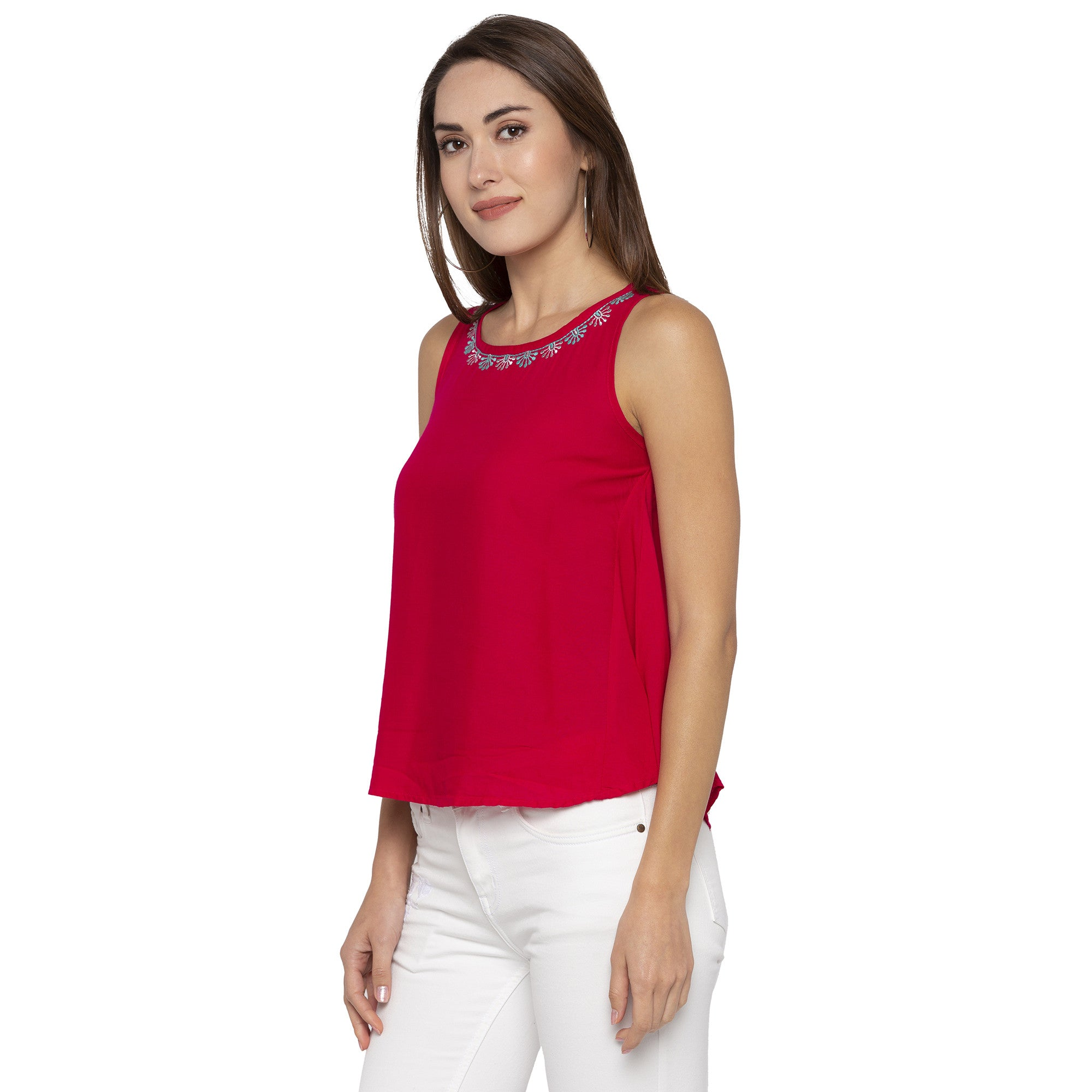 Casual Fushia Color Solid Regular Fit Tunics-2
