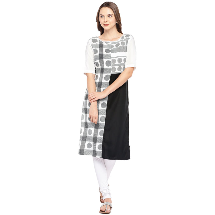 Women White & Black Printed Straight Kurta-1