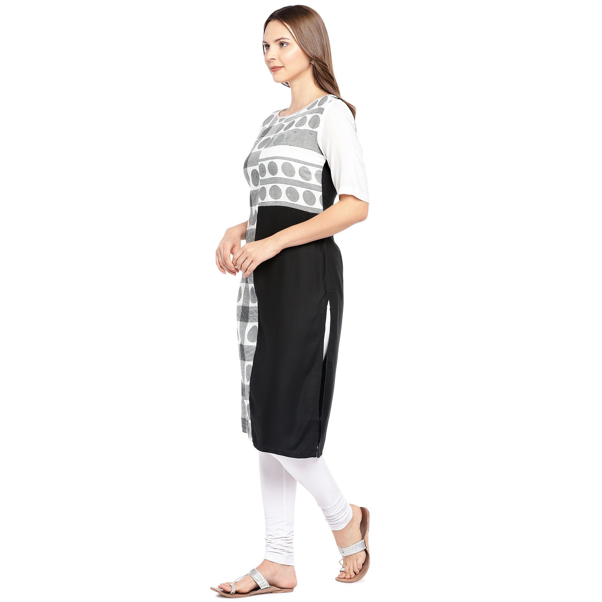 Women White & Black Printed Straight Kurta-2