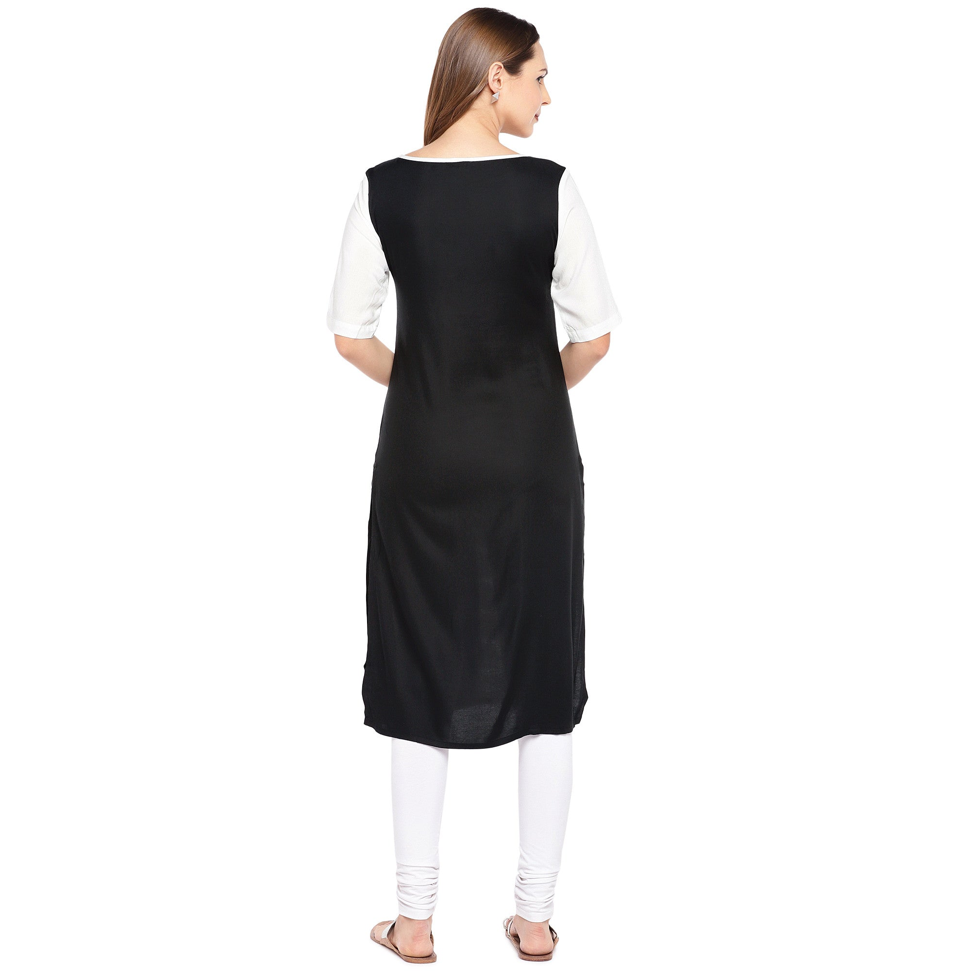 Women White & Black Printed Straight Kurta-3