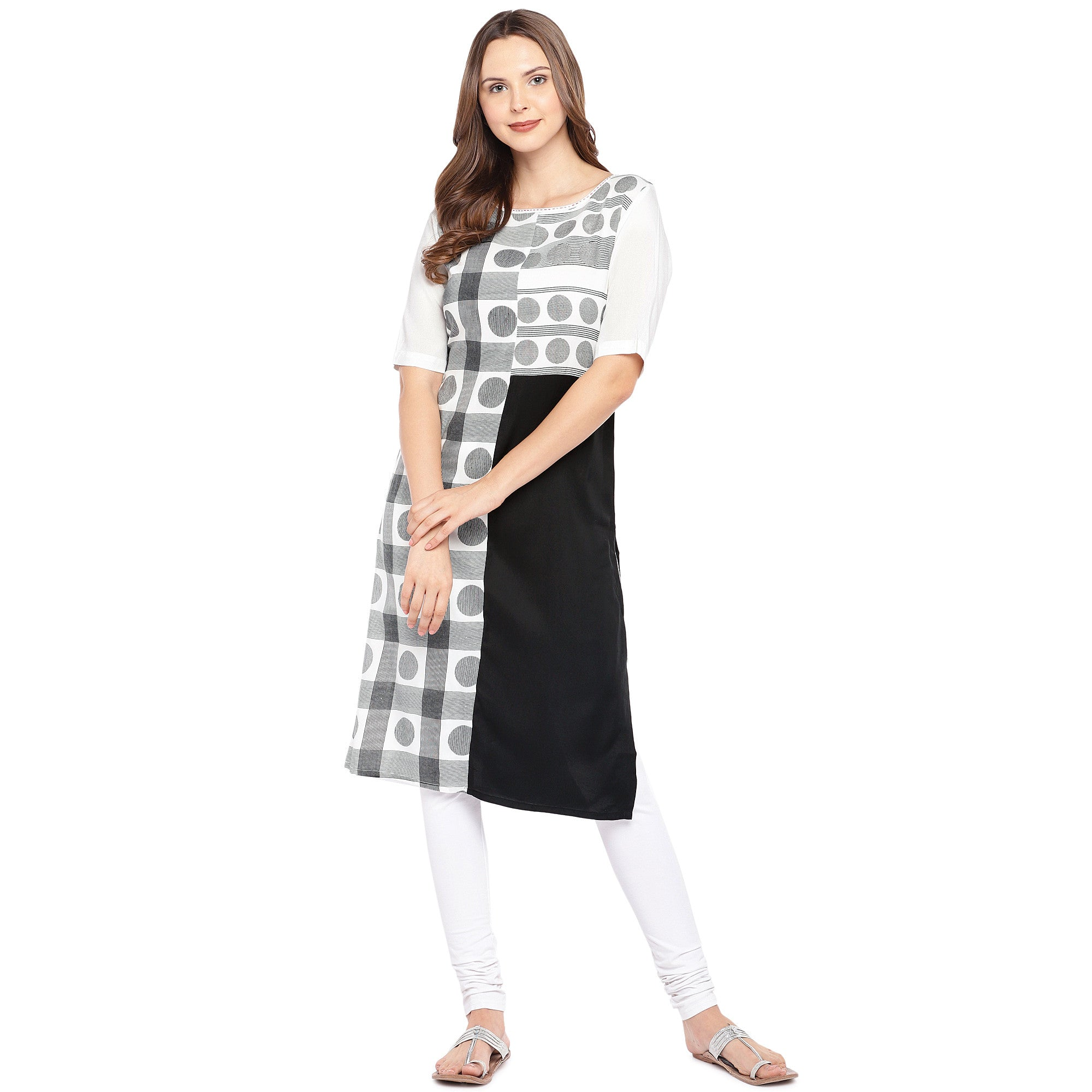 Women White & Black Printed Straight Kurta-4