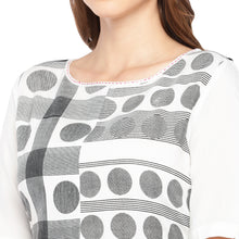 Load image into Gallery viewer, Women White & Black Printed Straight Kurta-5