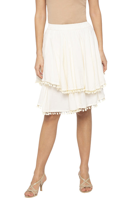 Layered Pompom Lace Ecru Skirt-1