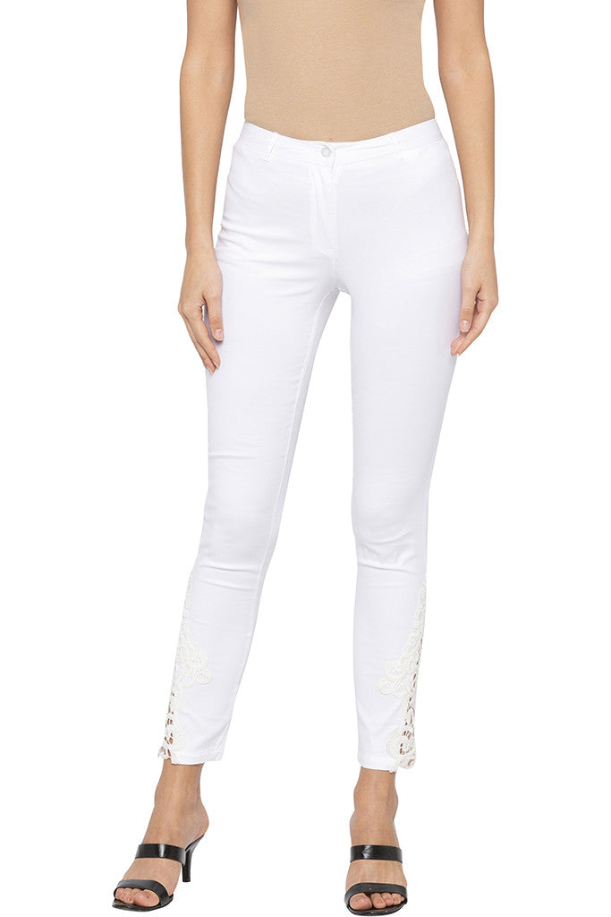 Skinny Fit Lace Detailing White Trousers-1