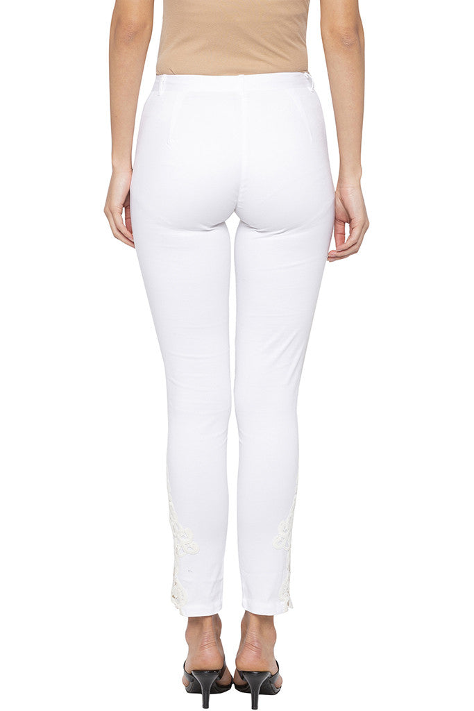 Skinny Fit Lace Detailing White Trousers-3