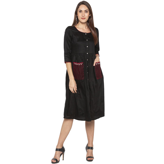 Casual Black Color A-Line Solid Regular Kurtas-1