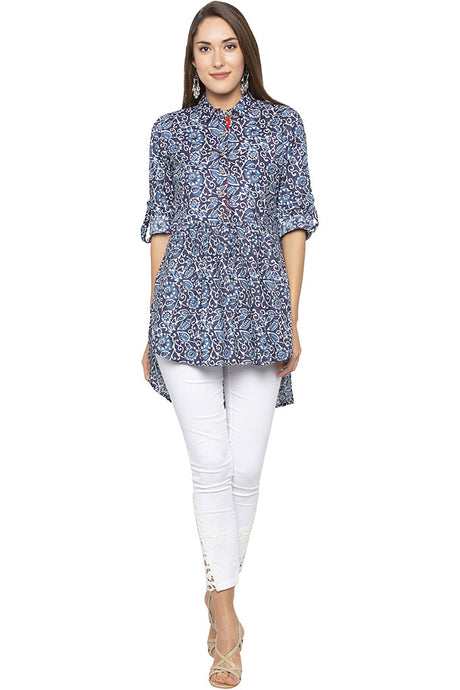 Print High Low Shirt Collar Blue Tunic-1