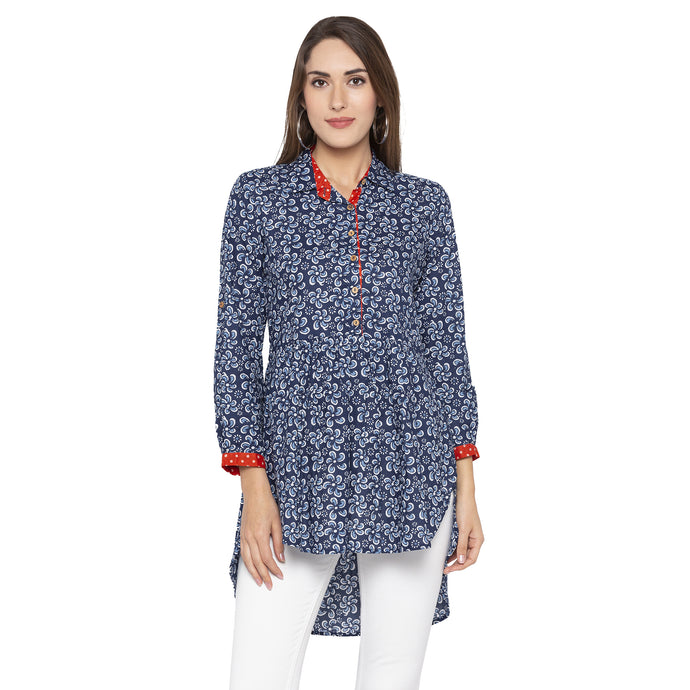Casual Blue Color Printed Regular Fit Tunics-1