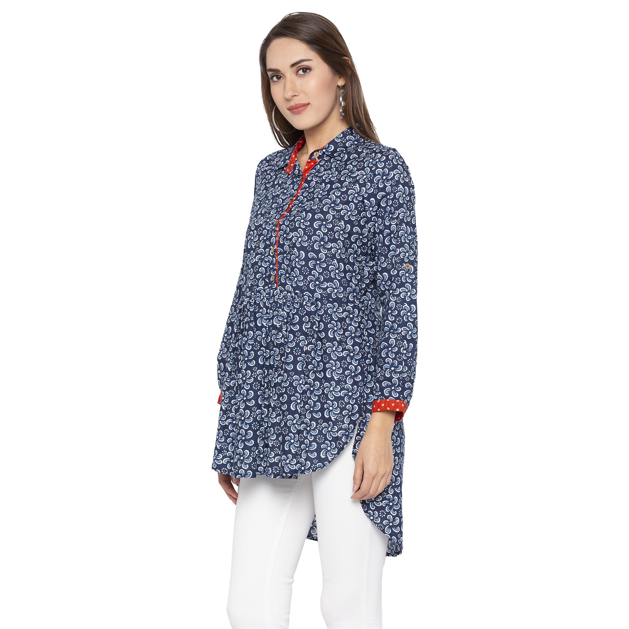Casual Blue Color Printed Regular Fit Tunics-2