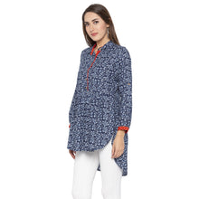 Load image into Gallery viewer, Casual Blue Color Printed Regular Fit Tunics-2