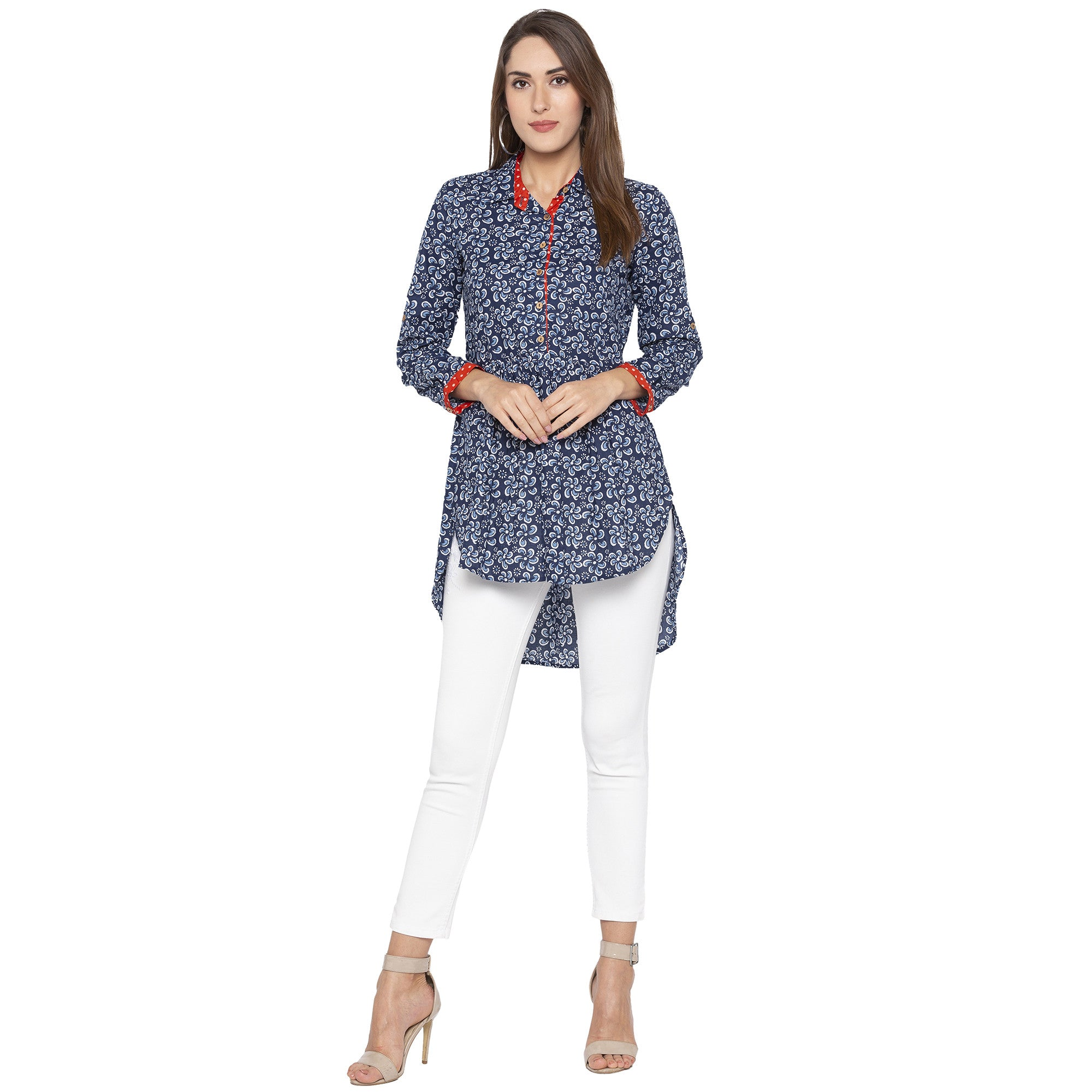 Casual Blue Color Printed Regular Fit Tunics-3