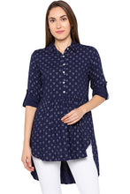 Load image into Gallery viewer, Navy Blue Shirt Collar High-low Tunic-1