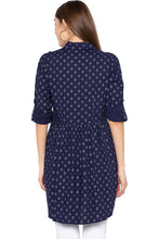 Load image into Gallery viewer, Navy Blue Shirt Collar High-low Tunic-3