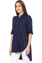 Load image into Gallery viewer, Navy Blue Shirt Collar High-low Tunic-4