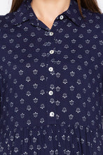 Load image into Gallery viewer, Navy Blue Shirt Collar High-low Tunic-5