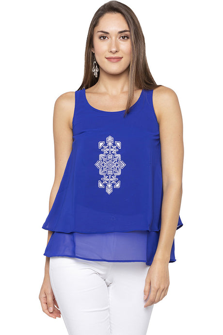 Embroidered Layered Blue Tunic-1