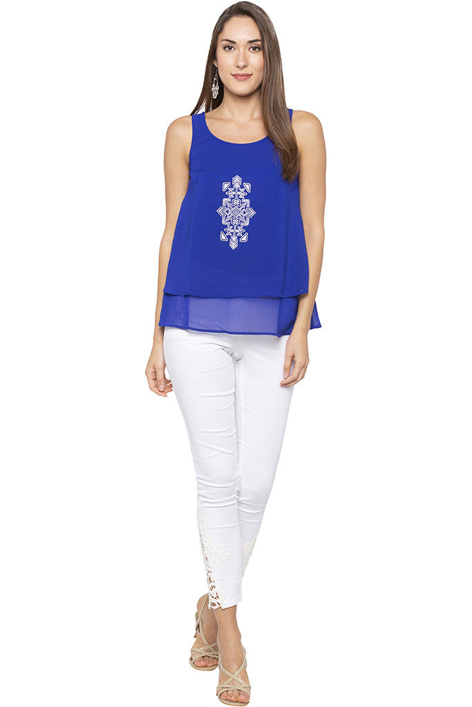 Embroidered Layered Blue Tunic-2